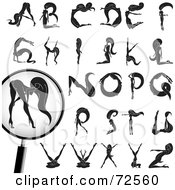 Royalty Free RF Clipart Illustration Of A Digital Collage Of A Sexy Nude Black And White Woman Forming Her Body Into The Alphabet