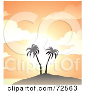 Royalty Free RF Clipart Illustration Of Two Palm Trees On A Hill Against A Pastel Orange Sunset