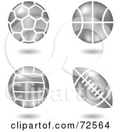 Royalty Free RF Clipart Illustration Of A Digital Collage Of Silver Metal Balls Soccer Basketball Volleyball And Football by cidepix