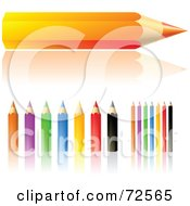 Royalty Free RF Clipart Illustration Of A Digital Collage Of Sharp Colored Pencils With Reflections
