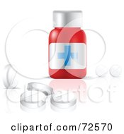 Royalty Free RF Clipart Illustration Of White Pills By A Red Medicine Bottle by cidepix