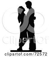 Black Silhouetted Couple Embracing And Gazing At Each Other