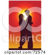 Royalty Free RF Clipart Illustration Of A Couple Standing Embracing And Gazing At Each Other And Silhouetted Against A Sunset
