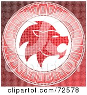 Royalty Free RF Clipart Illustration Of A Red Leo Horoscope Mosaic Tile Background by cidepix