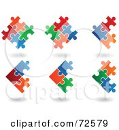 Royalty Free RF Clipart Illustration Of A Digital Collage Of Colorful Linked Puzzle Pieces With Shadows by cidepix