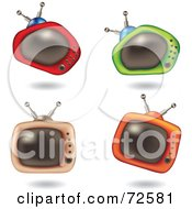 Royalty Free RF Clipart Illustration Of A Digital Collage Of Four 3d Funky Television Sets by cidepix