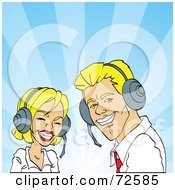 Royalty Free RF Clipart Illustration Of A Friendly Blond Man And Woman Wearing Headsets And Smiling