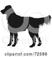 Royalty Free RF Clipart Illustration Of A Dark Brown Golden Retriever Dog Silhouette by pauloribau