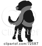 Royalty Free RF Clipart Illustration Of A Dark Brown Labrador Dog Silhouette by pauloribau