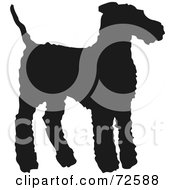 Royalty Free RF Clipart Illustration Of A Dark Brown Airedale Terrier Dog Silhouette