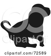 Royalty Free RF Clipart Illustration Of A Dark Brown Hound Dog Silhouette by pauloribau