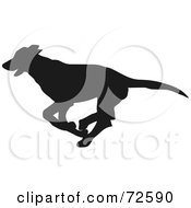 Royalty Free RF Clipart Illustration Of A Dark Brown Greyhound Dog Silhouette