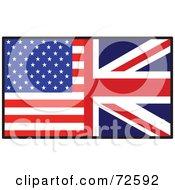 Royalty Free RF Clipart Illustration Of A Half American Half British Flag