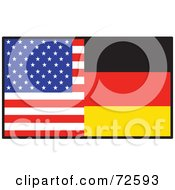 Royalty Free RF Clipart Illustration Of A Half American Half German Flag by Maria Bell