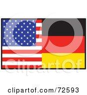 Royalty Free RF Clipart Illustration Of A Half American Half German Flag