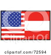 Royalty Free RF Clipart Illustration Of A Half American Half Austrian Flag
