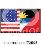 Royalty Free RF Clipart Illustration Of A Half American Half Antiqua Barbuda Flag by Maria Bell