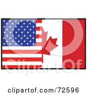 Royalty Free RF Clipart Illustration Of A Half American Half Canadian Flag