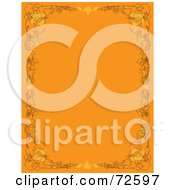 Royalty Free RF Clipart Illustration Of An Orange Vertical Background With Autumn Borders