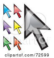 Royalty Free RF Clipart Illustration Of A Digital Collage Of Colorful Arrow Cursors by Arena Creative