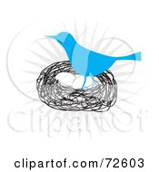 Royalty Free RF Clipart Illustration Of A Blue Bird Standing Over Eggs In A Nest