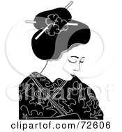 Royalty Free RF Clipart Illustration Of A Black And White Geisha Woman Looking Down by Pams Clipart