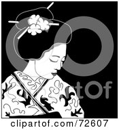 Royalty Free RF Clipart Illustration Of A Black And White Beautiful Geisha Looking Down by Pams Clipart
