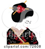 Pretty Geisha In A Red Black And White Gown