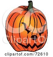 Royalty Free RF Clipart Illustration Of A Carved Mean Orange Jackolantern Halloween Pumpkin