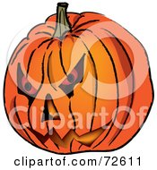 Royalty Free RF Clipart Illustration Of A Carved Evil Orange Jackolantern Halloween Pumpkin by Pams Clipart