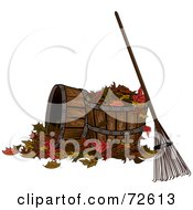 Royalty Free RF Clipart Illustration Of A Rack Resting Against A Barrel With Autumn Leaves