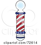 Royalty Free RF Clipart Illustration Of A Red And Blue Spiraling Old Fashioned Barbers Pole by Pams Clipart
