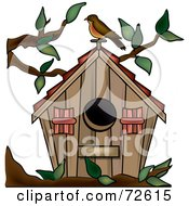 Royalty Free RF Clipart Illustration Of A Brown Bird Perched On Top Of Its Wooden House In A Tree Branch