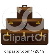 Royalty Free RF Clipart Illustration Of A Stack Of Three Brown Suitcases