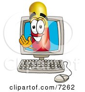 Clipart Picture Of A Medicine Pill Capsule Mascot Cartoon Character Waving From Inside A Computer Screen