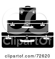 Royalty Free RF Clipart Illustration Of A Stack Of Three Black And White Suitcases