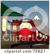 Royalty Free RF Clipart Illustration Of A Red Train At A Train Station Near Mountains by Pams Clipart