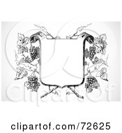 Royalty Free RF Clipart Illustration Of A Black And White Blank Shield Over Grapes
