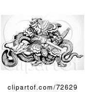 Royalty Free RF Clipart Illustration Of A Black And White Chinese Warrior With A Dragon And Sword by BestVector