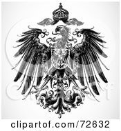 Royalty Free RF Clipart Illustration Of A Black And White Royal Heraldic Eagle And Crown Design Element by BestVector