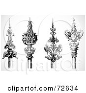 Royalty Free RF Clipart Illustration Of A Digital Collage Of Four Black And White Ornamental Spears