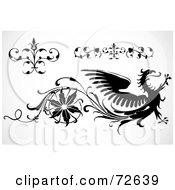 Royalty Free RF Clipart Illustration Of A Digital Collage Of Black And White Borders Elements And A Phoenix by BestVector