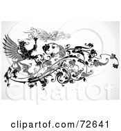 Royalty Free RF Clipart Illustration Of A Black And White Phoenix And Torch Floral Vine Element by BestVector