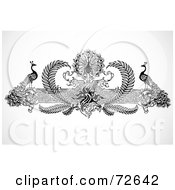 Royalty Free RF Clipart Illustration Of A Black And White Peacock And Floral Border by BestVector