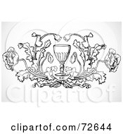 Royalty Free RF Clipart Illustration Of A Black And White Poppy Element Around A Chalice by BestVector
