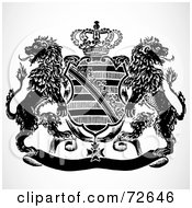 Royalty Free RF Clipart Illustration Of A Black And White Shield And Crown Crest With Lions by BestVector