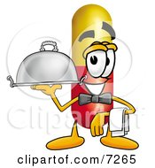 Medicine Pill Capsule Mascot Cartoon Character Dressed As A Waiter And Holding A Serving Platter