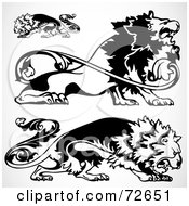 Royalty Free RF Clipart Illustration Of A Digital Collage Of Ornamental Black And White Lions by BestVector