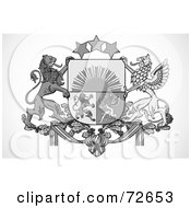 Royalty Free RF Clipart Illustration Of A Black And White Griffin Crest by BestVector