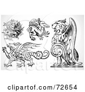 Royalty Free RF Clipart Illustration Of A Digital Collage Of Black And White Griffins